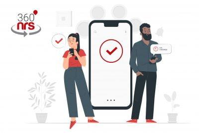 SMS Transaccional: imagen de dos personas enviando y recibiendo SMS